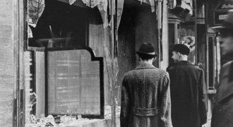 Shop damaged during Kristallnacht.